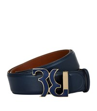 Billionaire Enamel Buckle Leather Belt Unisex Blue