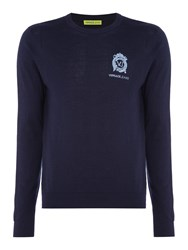 Versace Men's Embroidered Logo Crew Neck Knitted Jumper Navy