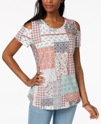 Styleandco. Style Co Cotton Cold Shoulder T Shirt Created For Macy's Lovely Patch