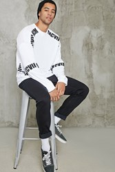 Forever 21 Roman Numeral Long Sleeve Tee White Black