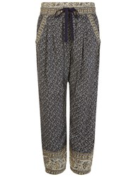 Sea Navy Printed Silk Harem Pants Blue