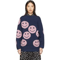 Marc Jacobs Navy The Redux Crewneck Sweater