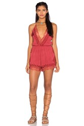 Tularosa Charmer Plunge Romper Red