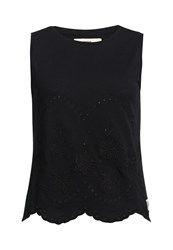 Superdry Cutwork Slub Shell Top Black