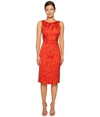 Zac Posen Party Jacquard Sleeveless Dress Coral Orange Women's Dress Red