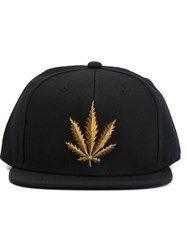 Palm Angels Embroidered Leaf Cap Black