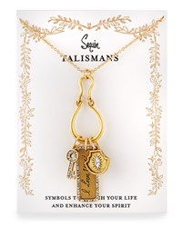 I Love You Talisman Charm Necklace Sequin Gold