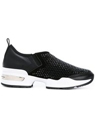 Ermanno Scervino Studded Slip On Sneakers Women Leather Suede Rubber 40 Black