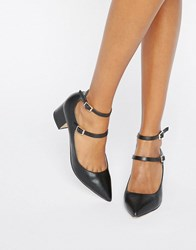 Miss Selfridge Double Strap Pointed Heeled Shoes Black