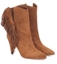 Aquazzura Wild Fringe 85 Suede Ankle Boots Brown