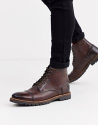 Base London Emerson Toe Cap Boots In Brown