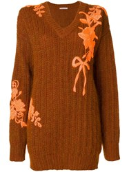 Christopher Kane Oversized Embroidered Sweater Brown