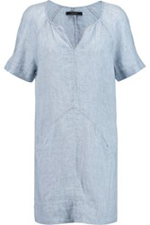 J Brand Ada Linen Chambray Mini Dress Light Denim