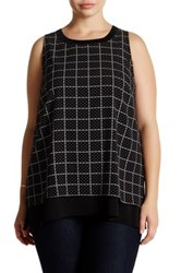 14Th And Union Sleeveless Layered Shell Blouse Plus Size Black