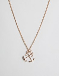 Simon Carter Double Anchor Pendant Necklace In Rose Gold Rose Gold