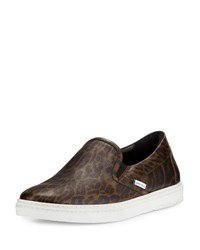 Jimmy Choo Grove Men's Leopard Print Slip On Sneaker Olive