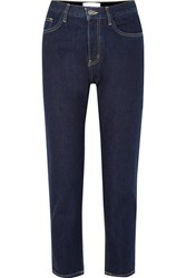 Current Elliott The Vintage Crop High Rise Straight Leg Jeans Dark Denim