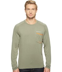 Columbia Sol Resist Long Sleeve Shirt Cypress Valencia Men's Long Sleeve Pullover Green