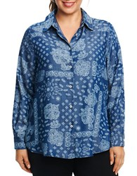 Foxcroft Plus Printed Long Sleeve Chambray Shirt Bandana