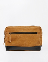 Asos Leather And Canvas Wash Bag Brown