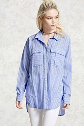 Forever 21 Pinstripe Button Up Shirt Blue Cream