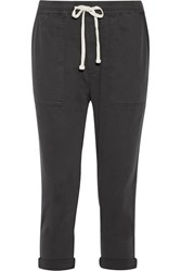 James Perse Cotton Blend Twill Track Pants Charcoal