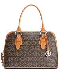Giani Bernini Handbag Block Signature Dome Satchel Brown