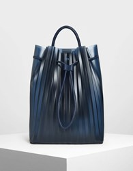Charles And Keith Translucent Drawstring Backpack Dk.Blu