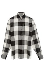 Ms Min Oversized Check Long Sleeve Shirt Black White
