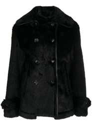 Tom Ford Faux Fur Double Breasted Coat Black
