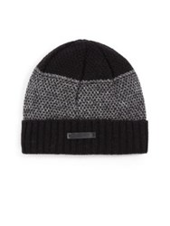 Bickley And Mitchell Mixed Pattern Cuffed Lambswool Beanie Dark Red Navy Black