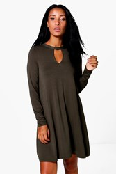 Boohoo Key Hole Long Sleeve Swing Dress Khaki