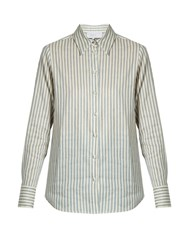 Luisa Beccaria Point Collar Striped Linen Blend Shirt Blue Stripe