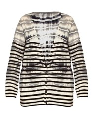 Raquel Allegra Tie Dye Striped Wool And Cashmere Blend Cardigan