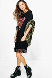 Boohoo Abbie Oversized Band T Shirt Dress Multi