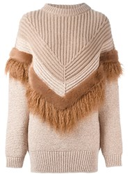 Stella Mccartney Draped Faux Fur Trim Jumper Nude And Neutrals