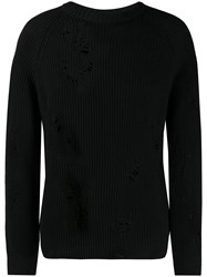 Laneus Distressed Knit Jumper Black