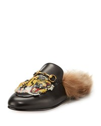 Gucci Princetown Tiger Embroidered Loafer Black