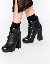 Tba To Be Announced Misdemeanor Platform Ankle Boots Blackleather