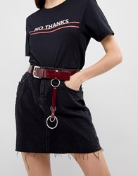 Asos Ring Tab Jeans Belt In Patent Red