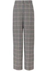 Cedric Charlier Checked Wool Blend Wide Leg Pants Gray