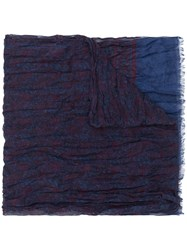 John Varvatos Patterned Scarf Blue