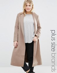 Alice And You Longline Coat With Drop Lapel Tan