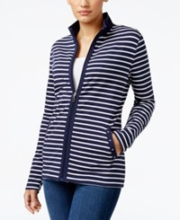 Karen Scott Striped Mock Neck Jacket Only At Macy's Intrepid Blue