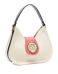 Braccialini Federica Saffiano Leather Hobo Bag Beige