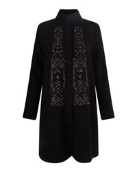 East Embroidered Felted Wool Coat Black