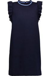 Mother Of Pearl Velma Ruffled Cotton And Modal Blend Jersey Mini Dress Midnight Blue