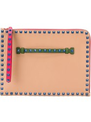 Valentino Garavani 'Rockstud' Clutch Nude And Neutrals