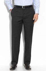 Canali Men's Big And Tall Flat Front Wool Trousers Black