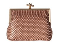 Jessica Mcclintock Becky Rope Mesh Frame Clutch Rose Gold Clutch Handbags